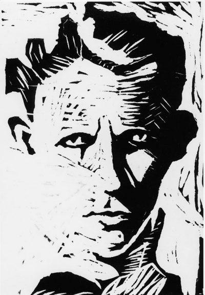 1937 Autoportrait, gravure sur linoléum par le compositeur